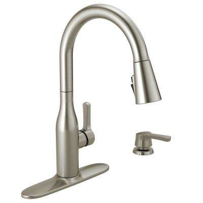 Marca Single-Handle Pull-Down Sprayer Kitchen Faucet with ShieldSpray Technology and Soap in SpotShield Stainless