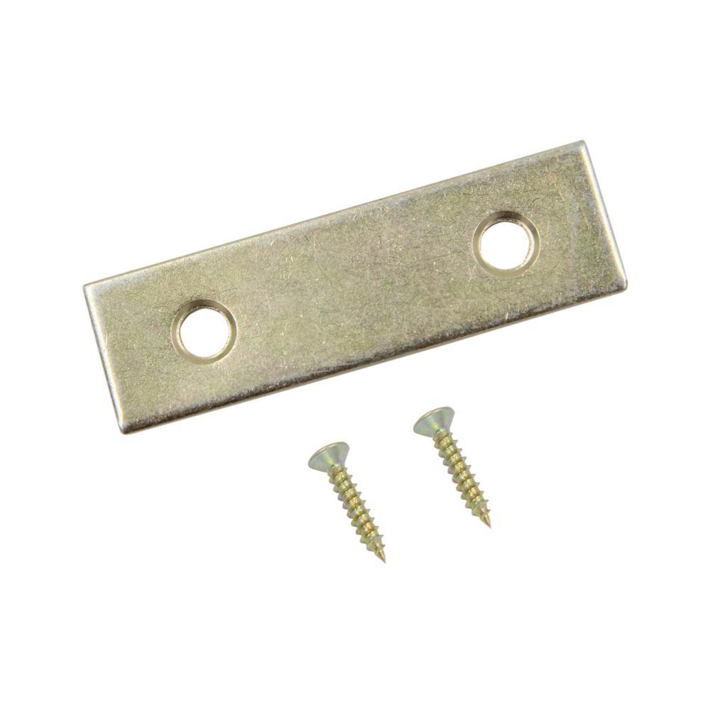 Everbilt 2 in. Satin Brass Mending Plate (4-Pack)