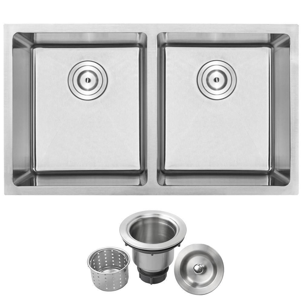 Arlo Undermount 18-Gauge Stainless Steel 31 in. Double Bowl Kitchen Sink with Basket Strainer