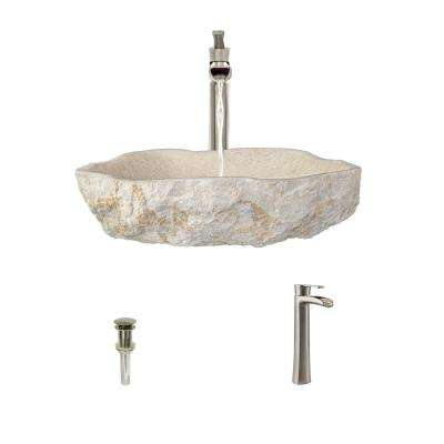 Stone Vessel Sink in Galaga Beige Marble with 731 Faucet and Pop-Up Drain in Brushed Nickel