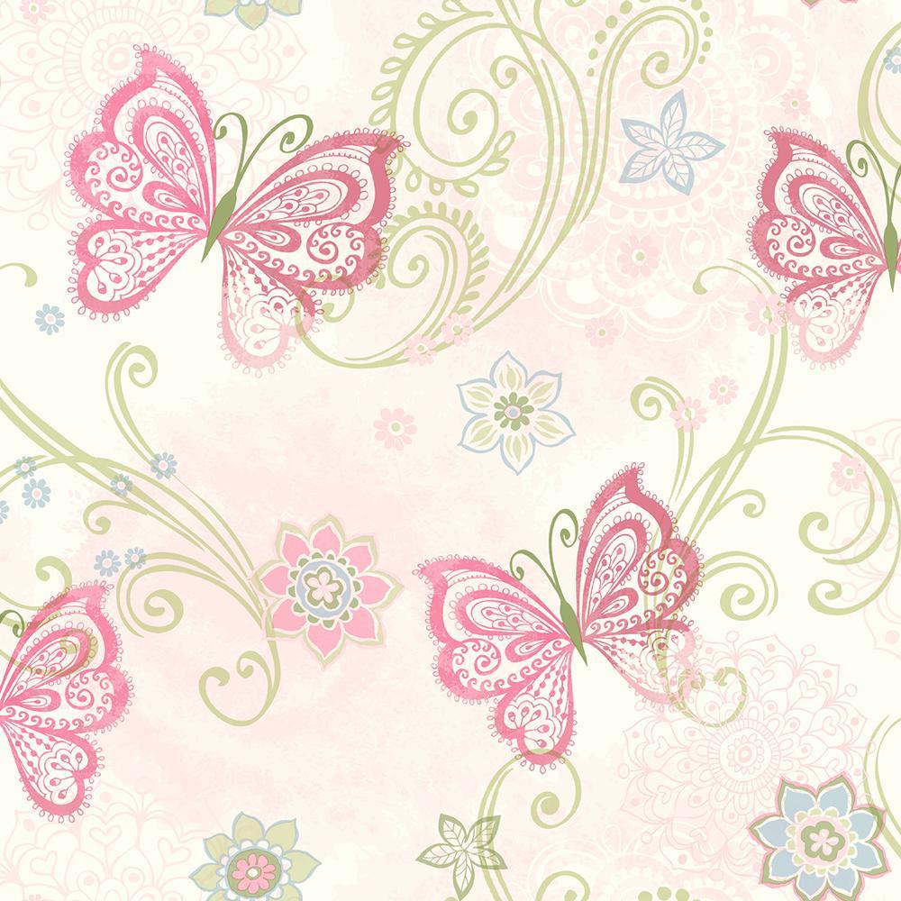 Fantasia Pink Boho Butterflies Scroll Wallpaper