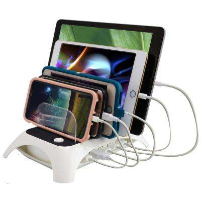 12 Amp 5-Port USB White Charging Station with 5-Device Slots