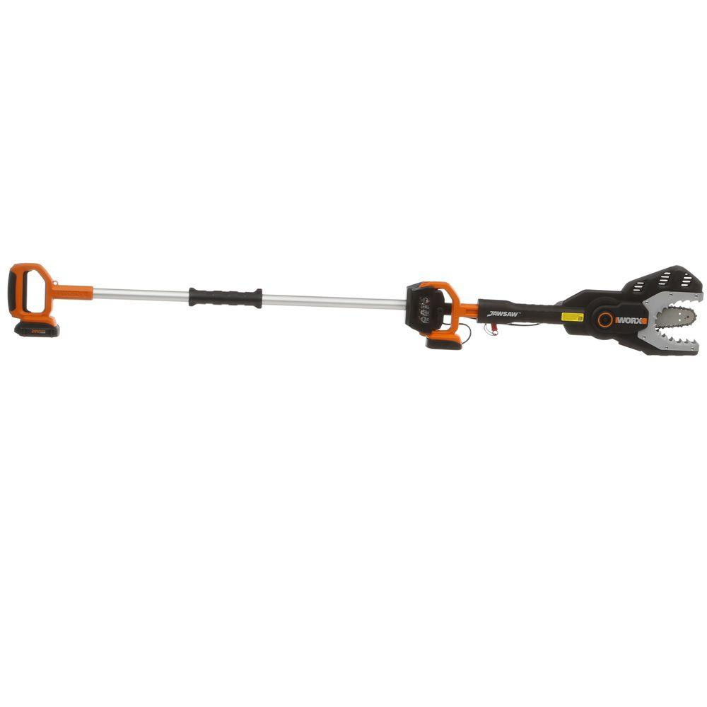 Worx 6 in. 10 ft. 20-Volt MAX Lithium-Ion Cordless Jaw Chainsaw with Extension Pole