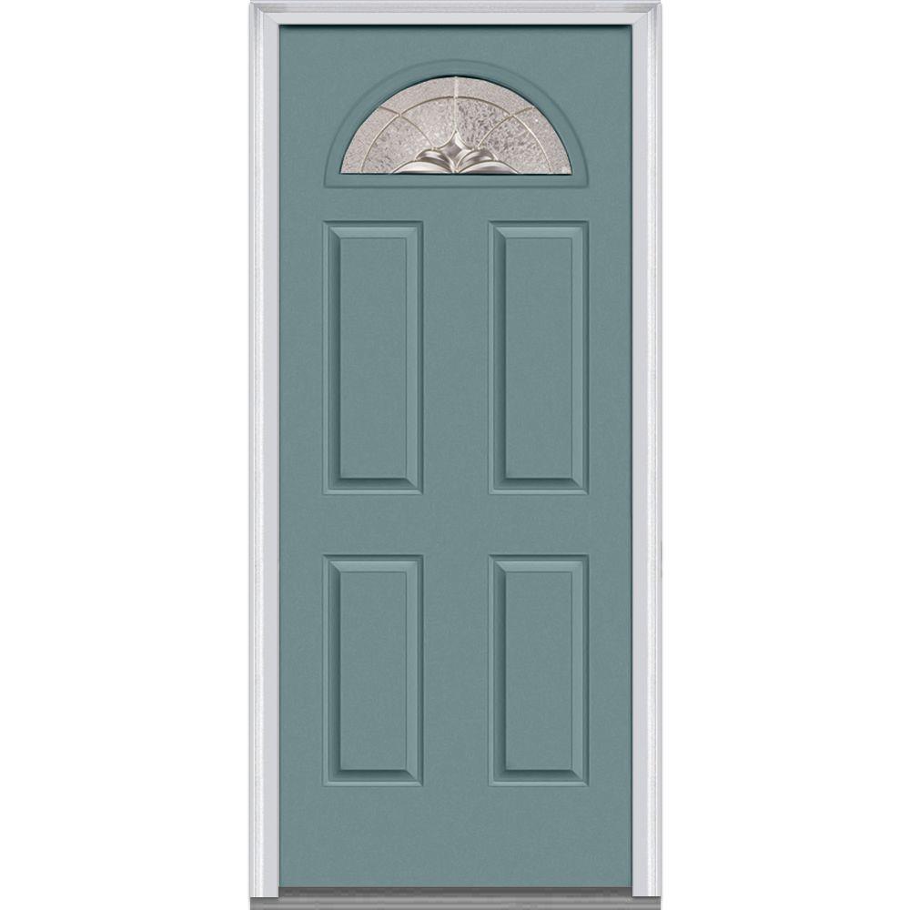 30 in. x 80 in. Heirloom Master Left-Hand 1/4-Lite Decorative 4-Panel Painted Fiberglass Smooth Prehung Front Door