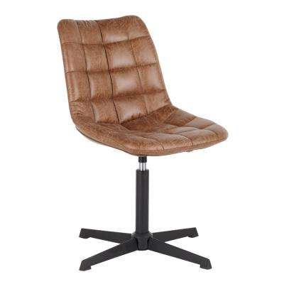 Quad Light Brown Faux Leather Swivel Chair with 4-Star Metal Base