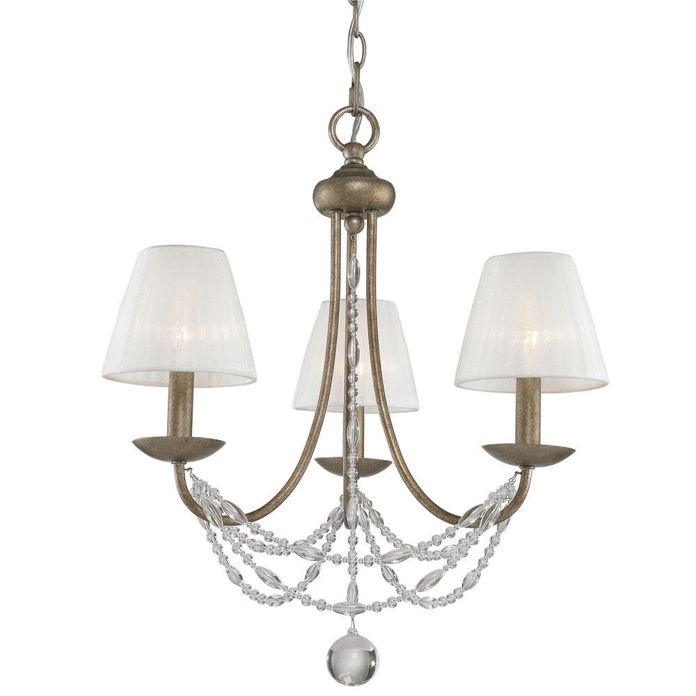Mirabella 3-Light Golden Aura Chandelier with Pearl Chiffon Shade