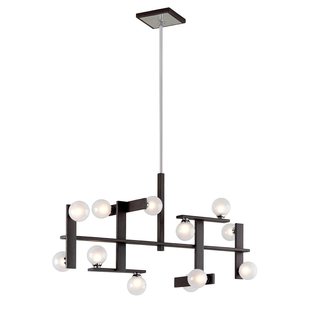 Troy Lighting Network 12-Light Forest Bronze and Polished Chrome Linear Pendant with Frosted Clear Glass Ball Shade
