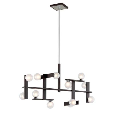 Network 12-Light Forest Bronze and Polished Chrome Linear Pendant with Frosted Clear Glass Ball Shade
