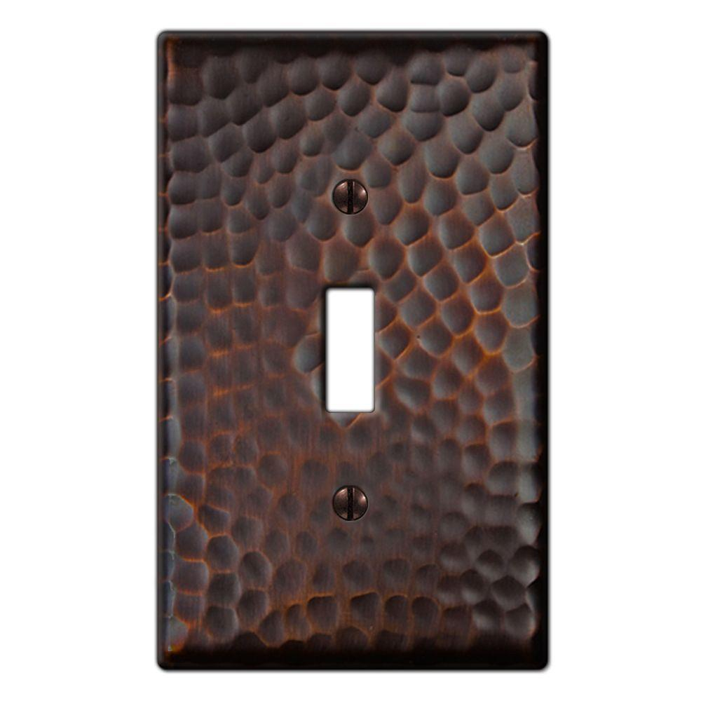 Hampton Bay Hammered 1-Gang Toggle Wall Plate, Oil-Rubbed Bronze