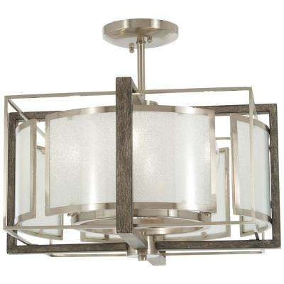 Tyson's Gate 4-Light Brushed Nickel with Shale Wood Semi-Flushmount