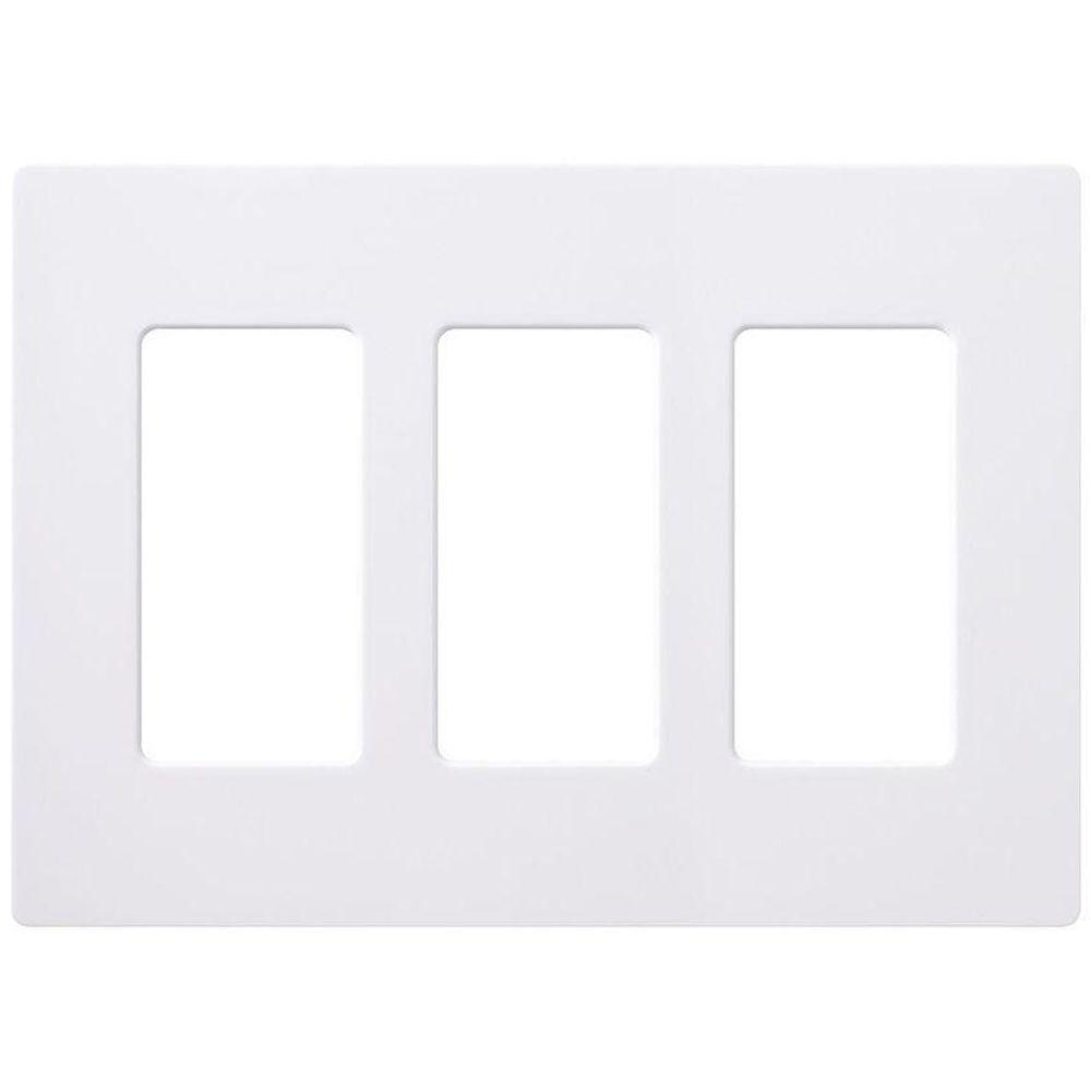 Lutron Claro 3 Gang Decorator Wallplate, White