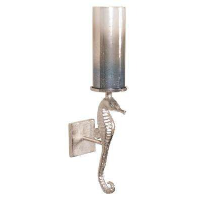 Seahorse Sconce with Pearlized Slate Hurricane Candle Holder