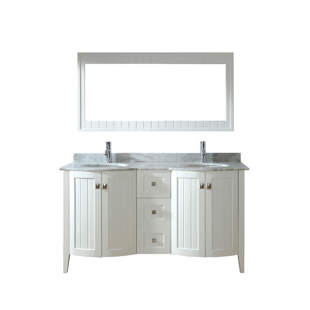 Studio Bathe Bridgeport 60 In. Vanity In White With Marble Vanity Top In  White And