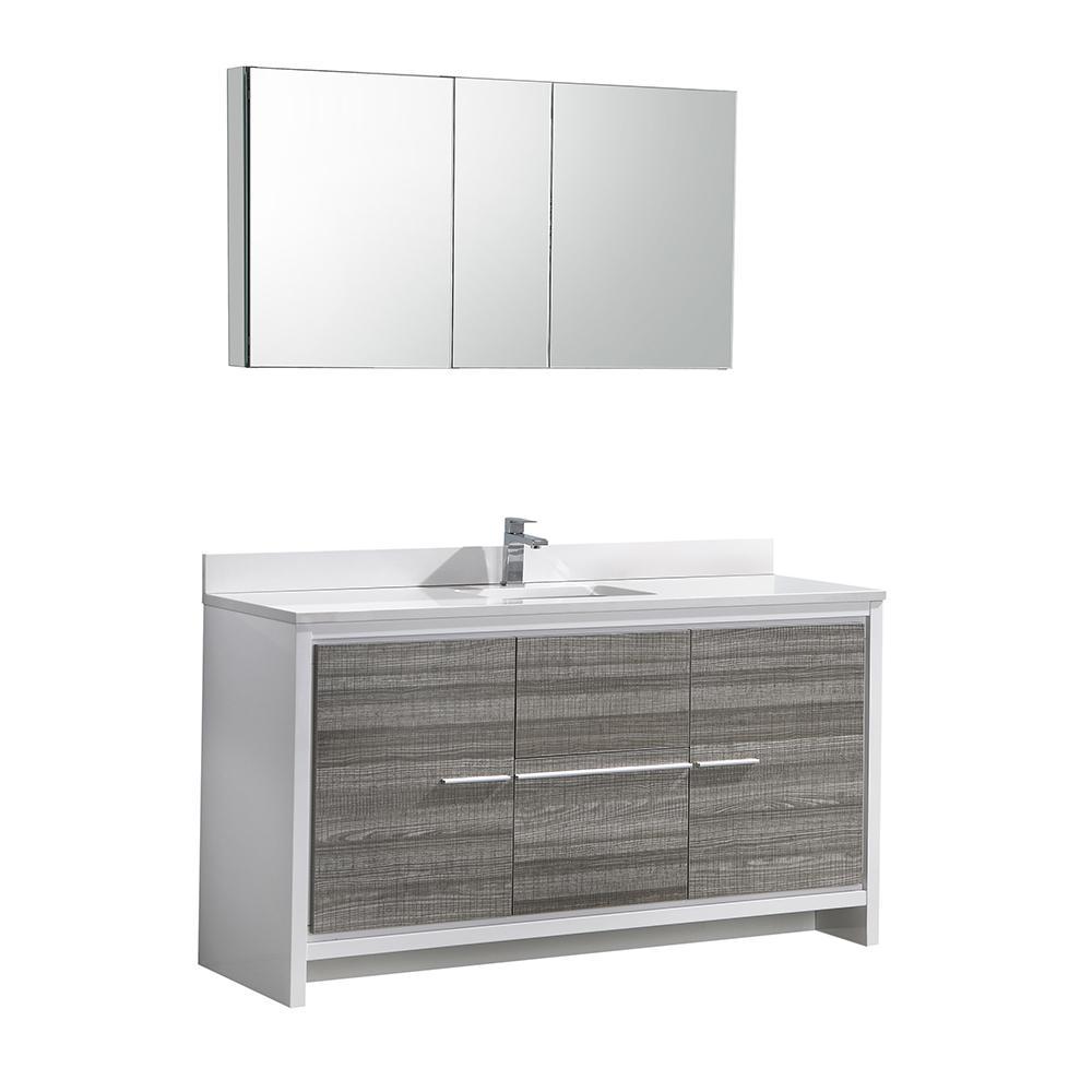 Modern Vanity Ash Gray Quartz Stone Vanity Top White