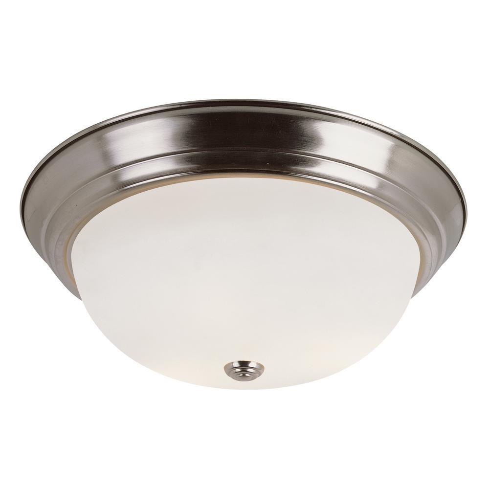 Bowers 19-Watt Brushed Nickel Integrated LED Flushmount