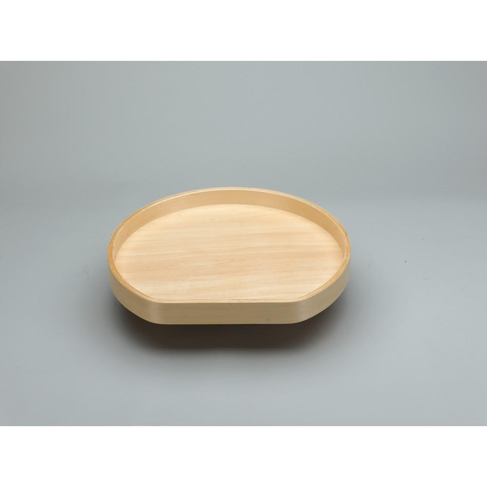 20 in. Banded Wood D-Shape Lazy Susan w/steel bearing