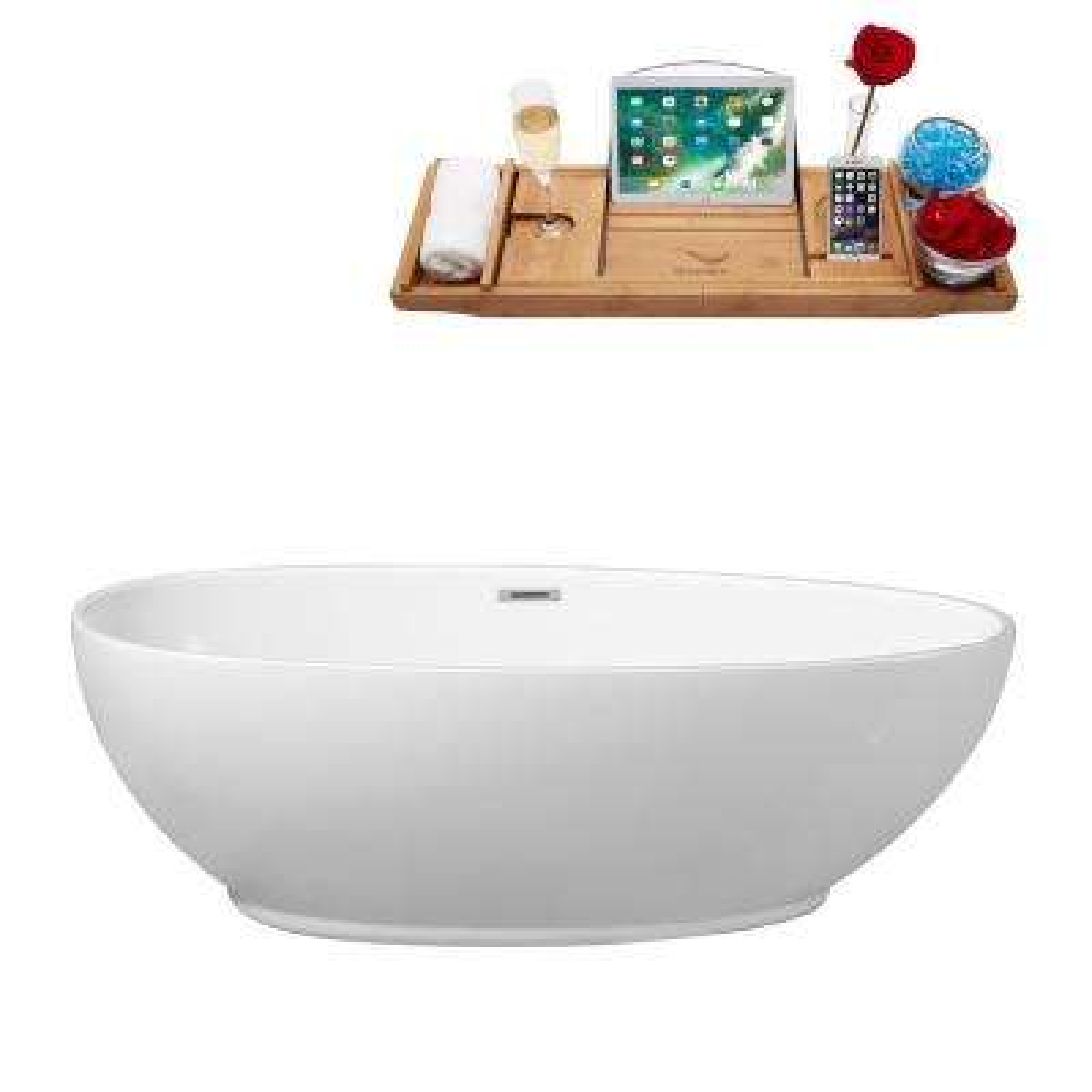 70.9 in. Acrylic Flatbottom Non-Whirlpool Bathtub in White