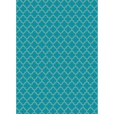 Quaterfoil Design 5ft x 7ft teal & white Indoor/Outdoor vinyl rug.