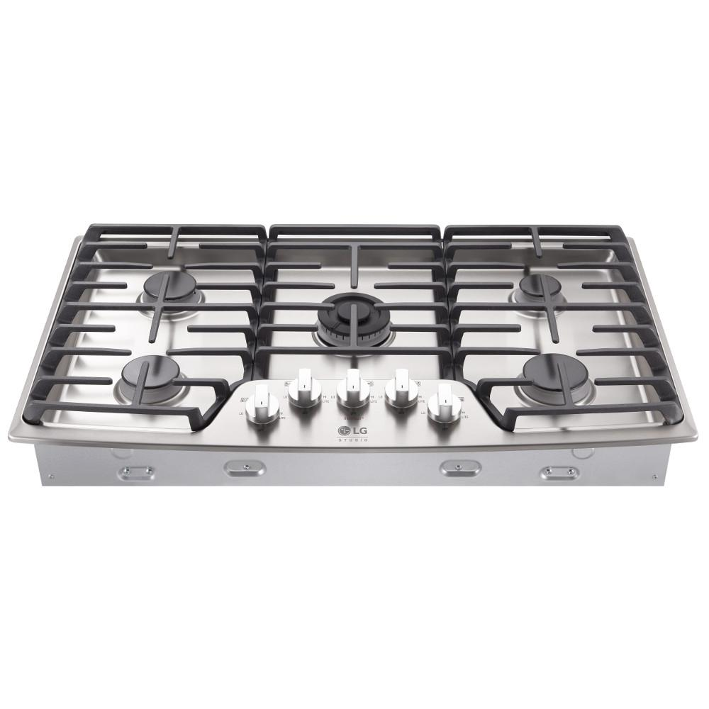 5 Burner Gas Cooktops: LG STUDIO 36 In. Gas Cooktop In Stainless Steel With 5