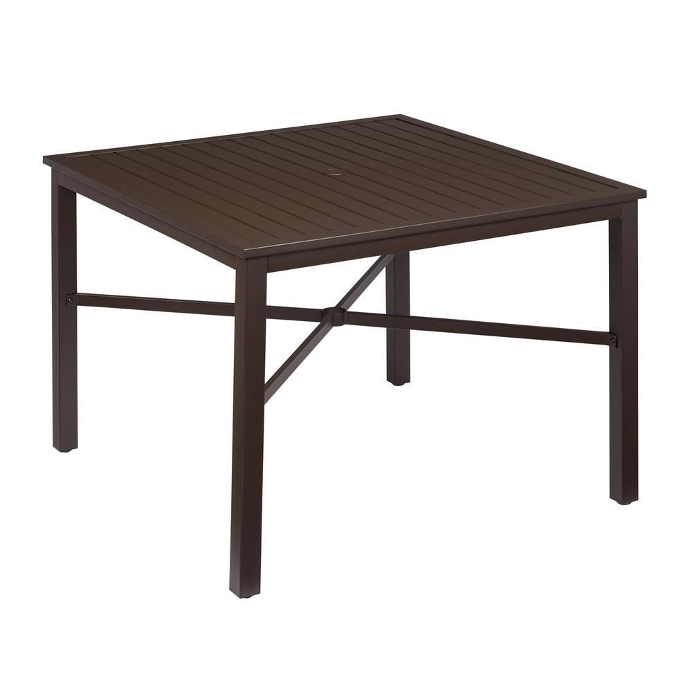 Hampton Bay Mix And Match Square Metal Outdoor Dining Table Fts70660 The Home Depot