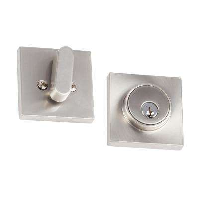 Modern Satin Stainless Square Single-Cylinder Deadbolt