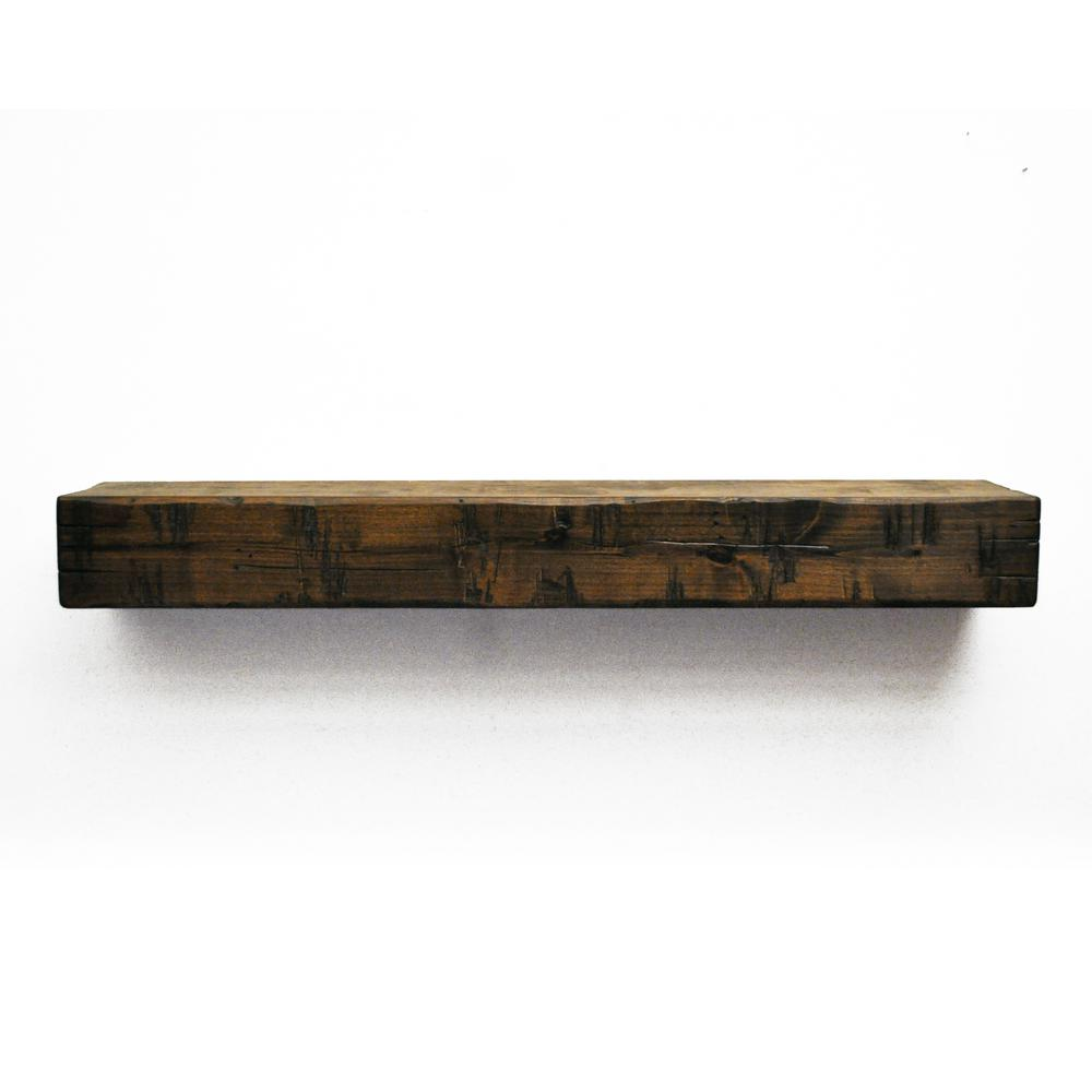 dogberry rustic 5 ft dark chocolate cap shelf mantel m rust 6005