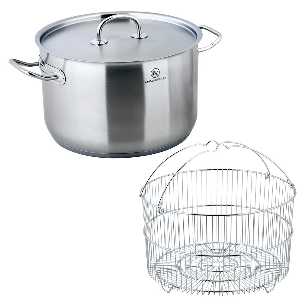 Pro-X 2-Piece 10.6 Qt. Stainless Steel Stock Pot and Steamer Basket