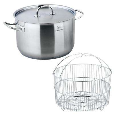 Pro-X 2-Piece 10.6 Qt. Stainless Steel Stock Pot and Steamer Basket Set with Lid