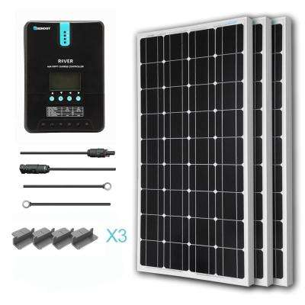 300-Watt 12-Volt Monocrystalline Solar Starter Kit with MPPT Charge Controller