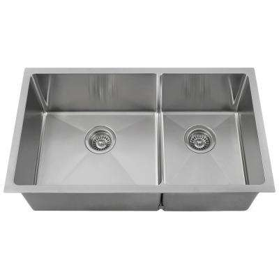 Undermount Stainless Steel 32 in. Left Double Bowl Kitchen Sink