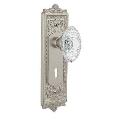 Egg and Dart Plate Interior Mortise Crystal Victorian Door Knob in Satin Nickel