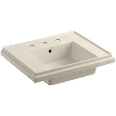 Tresham 24 in. Fireclay Pedestal Sink Basin in Almond with Overflow Drain