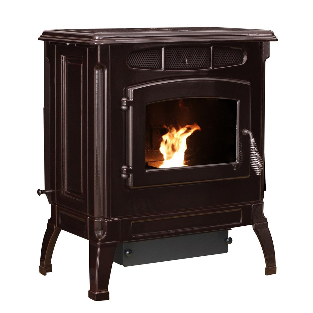 2,000 sq. ft. EPA Certified Cast Iron Pellet Stove Mahogany Enameled