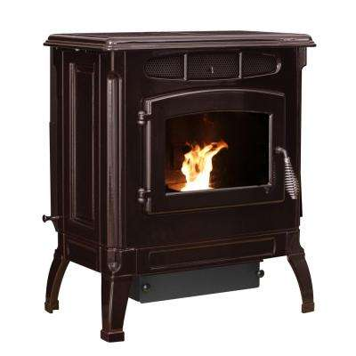 2,000 sq. ft. EPA Certified Cast Iron Pellet Stove Mahogany Enameled Porcelainwith 40 lb. Hopper Porcelain