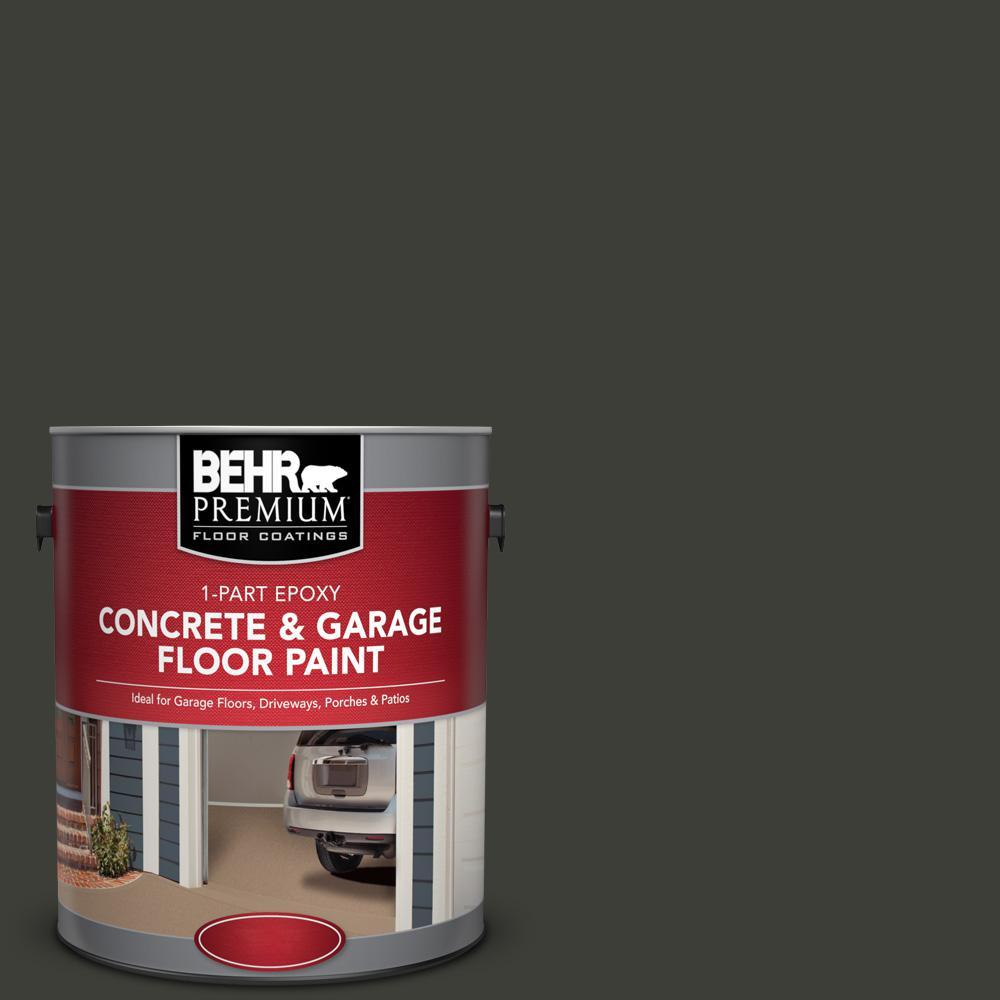 BEHR Premium 1 gal. #PFC-75 Tar Black 1-Part Epoxy Satin Interior/Exterior Concrete and Garage Floor Paint