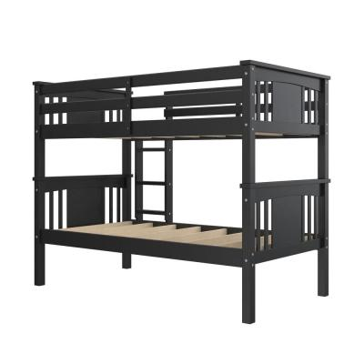 Dylan Black Twin Over Twin Wood Bunk Bed for Kids