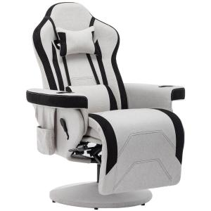 High End Gray Fabric Reclining Gaming Chair