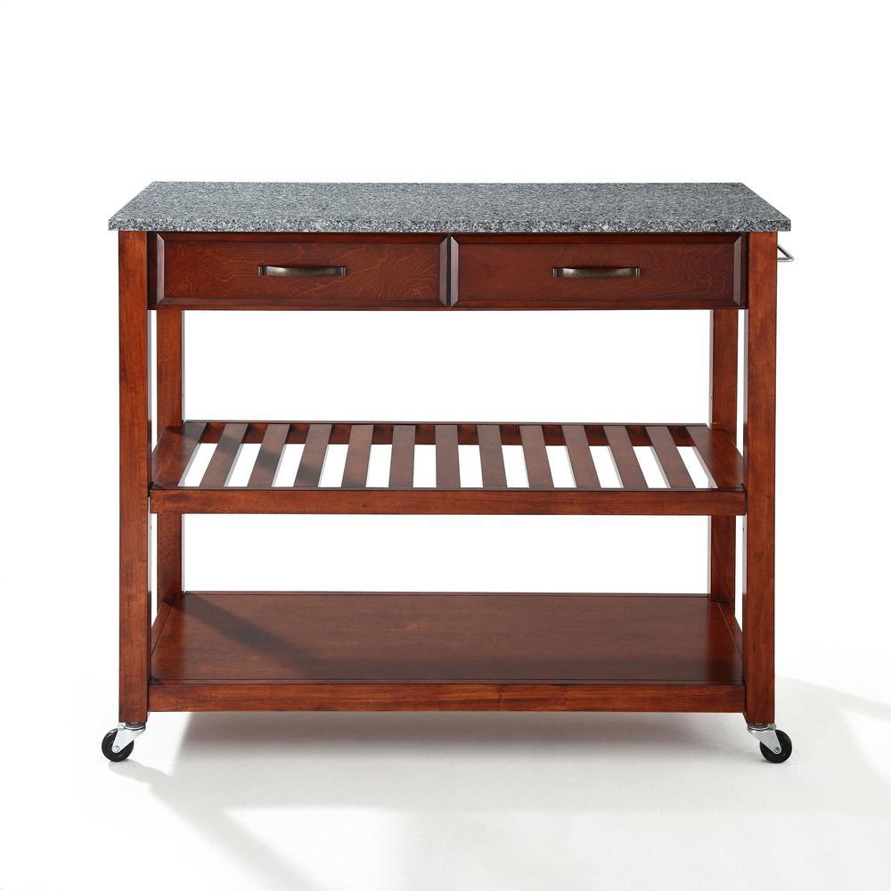 Cherry Kitchen Cart With Granite Top