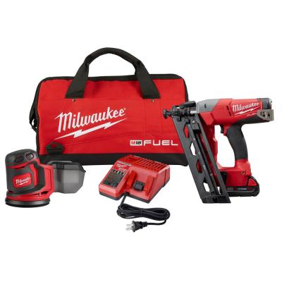 M18 FUEL 18-Volt Lithium-Ion Brushless Cordless 16-Gauge Angled Nailer Kit with Free M18 Cordless Sander