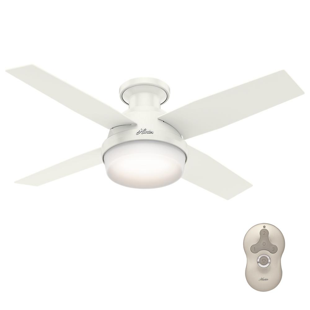 Hunter dempsey 44 in low profile led indoor fresh white ceiling fan low profile led indoor fresh white ceiling fan with universal remote 59244 the home depot aloadofball Image collections