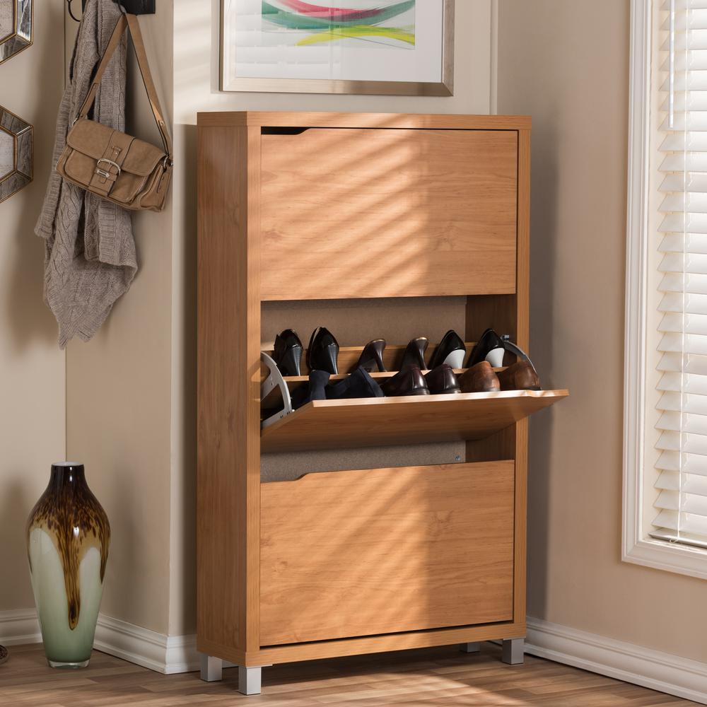 BaxtonStudio Baxton Studio 18-Pair Simms Wood Modern Shoe Organizer in Maple, Light Brown Wood