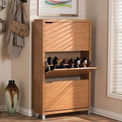 18-Pair Simms Wood Modern Shoe Organizer in Maple