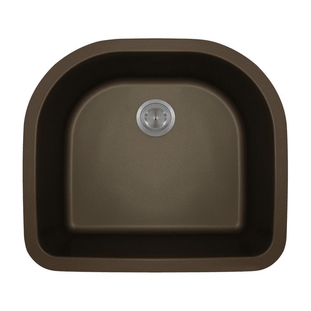 Undermount Quartz 24.75 in. 0-Hole Single Bowl Kitchen Si...