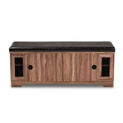 Valina 18 in. H x 47.5 in. W 8-Pair Dark Brown and Oak Wooden Shoe Storage Bench with Faux Leather Seating