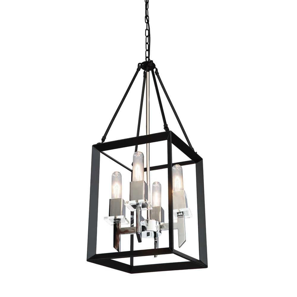 Artcraft 4 Light Black And Chrome Chandelier