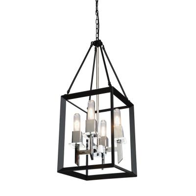 4-Light Black and Chrome Chandelier