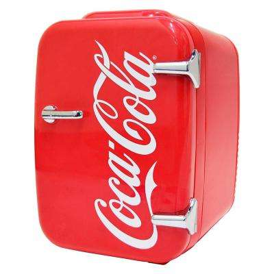 Coca-Cola Vintage Chic 0.14 cu. ft. Retro Mini Fridge in Red without Freezer