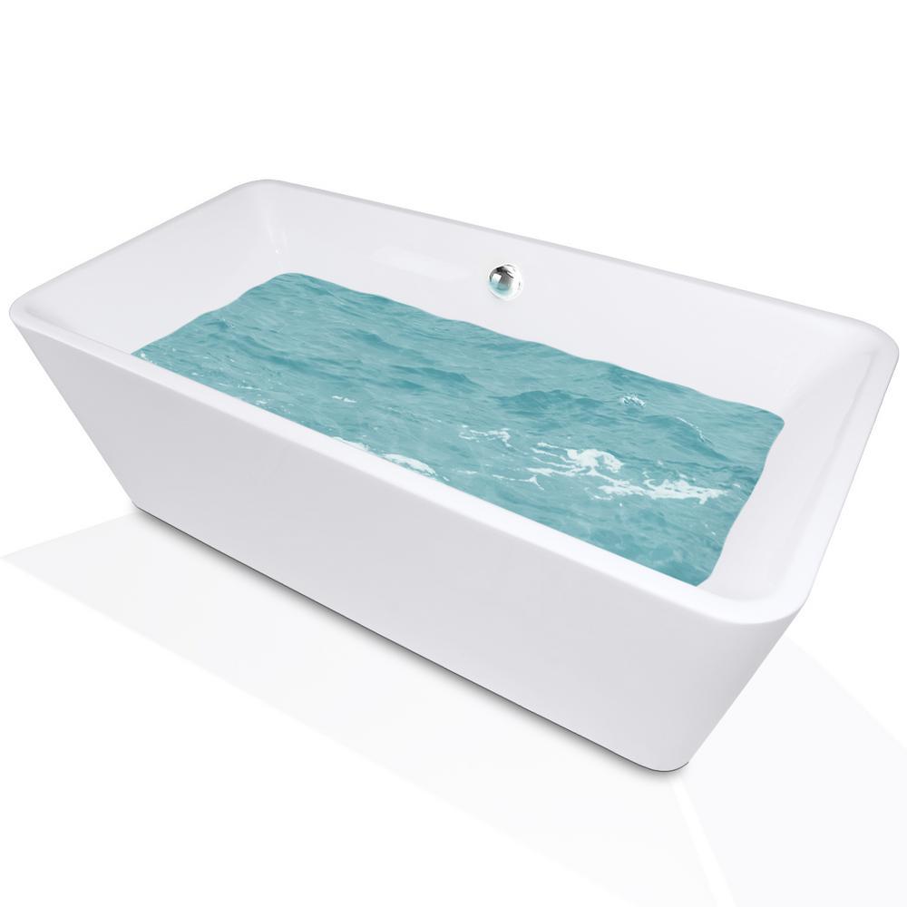 66 in. Acrylic Center Drain Rectangular Double Ended Flatbottom Freestanding Bathtub in Glossy White