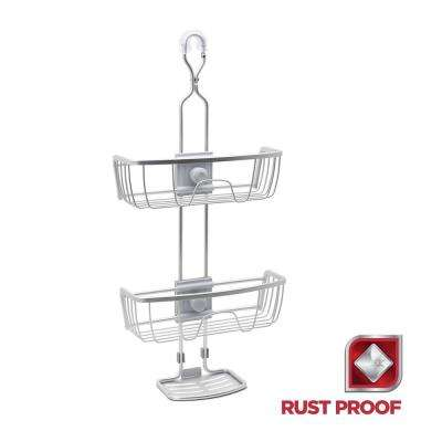 Rustproof 4-Way Adjustable Shower Caddy in Satin Chrome