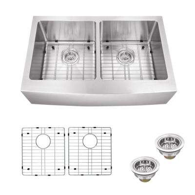 All-in-One Apron Front Stainless steel 33 in. Double Bowl Kitchen Sink